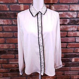 Karl Lagerfeld White Black Silky Lace Trim Blouse